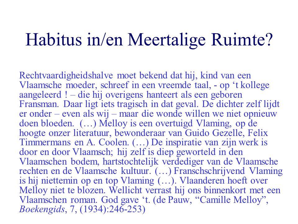Habitus in/en Meertalige Ruimte? Rechtvaardigheidshalve moet bekend dat hij, kind van een Vlaamsche moeder, schreef in een vreemde taal, - op 't kolle