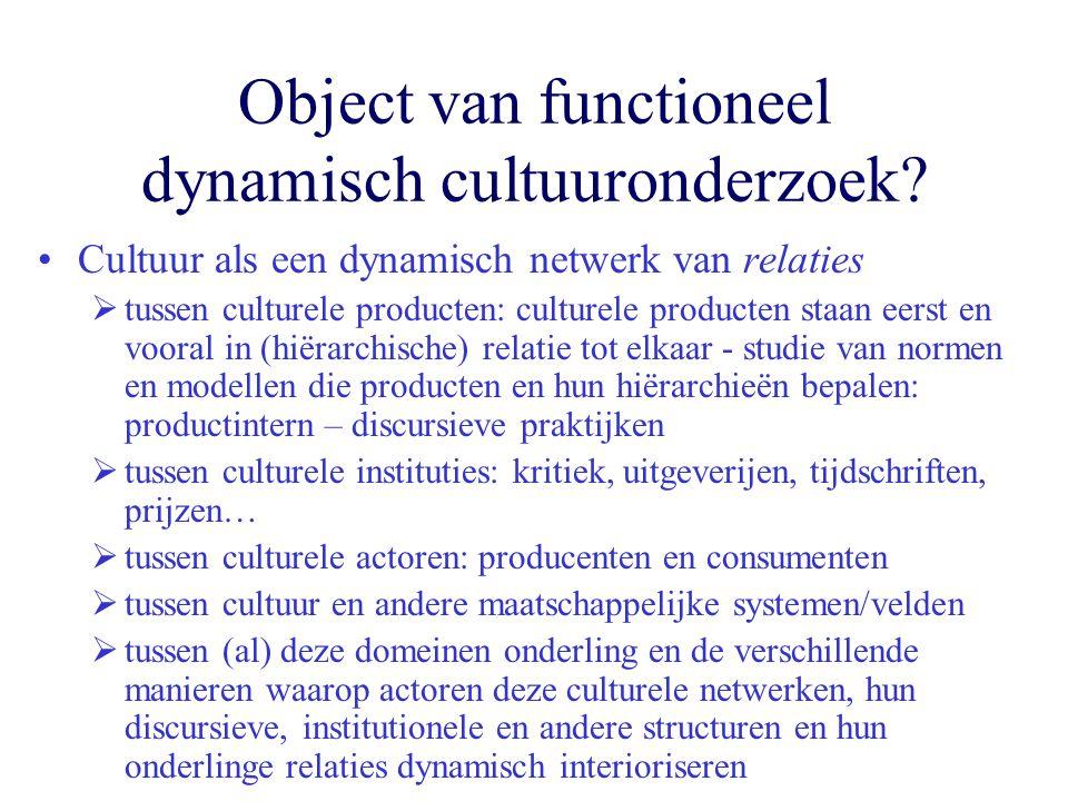 Object van functioneel dynamisch cultuuronderzoek? Cultuur als een dynamisch netwerk van relaties  tussen culturele producten: culturele producten st