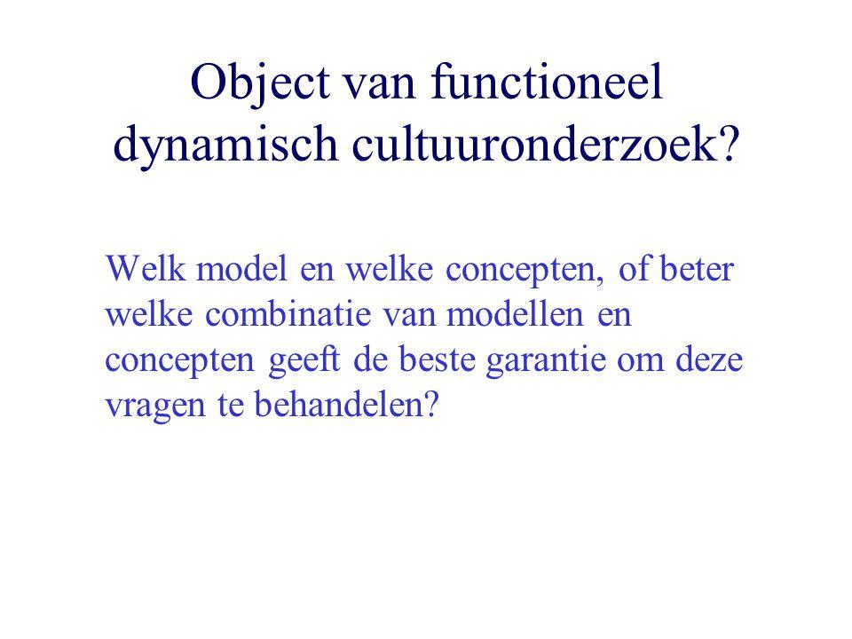 Object van functioneel dynamisch cultuuronderzoek? Welk model en welke concepten, of beter welke combinatie van modellen en concepten geeft de beste g