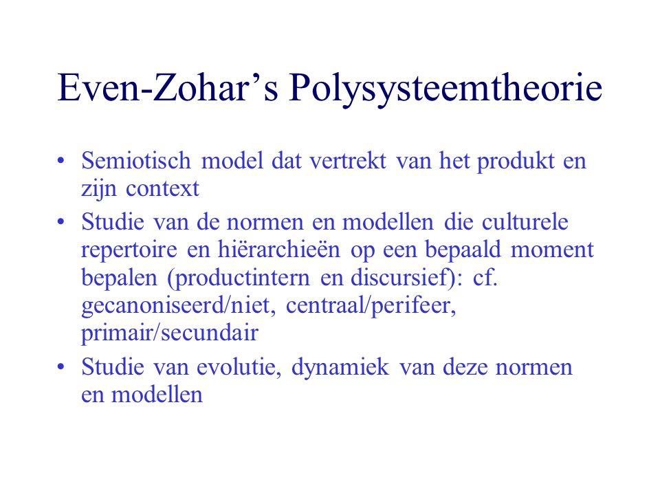 Even-Zohar's Polysysteemtheorie Semiotisch model dat vertrekt van het produkt en zijn context Studie van de normen en modellen die culturele repertoire en hiërarchieën op een bepaald moment bepalen (productintern en discursief): cf.