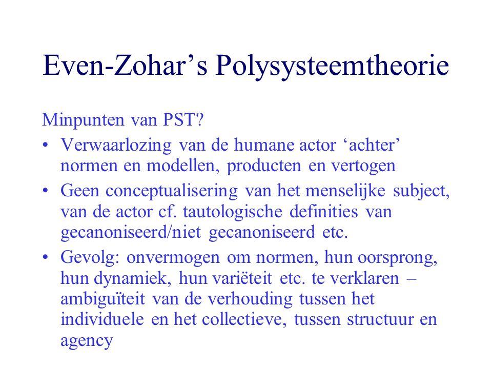 Even-Zohar's Polysysteemtheorie Minpunten van PST? Verwaarlozing van de humane actor 'achter' normen en modellen, producten en vertogen Geen conceptua