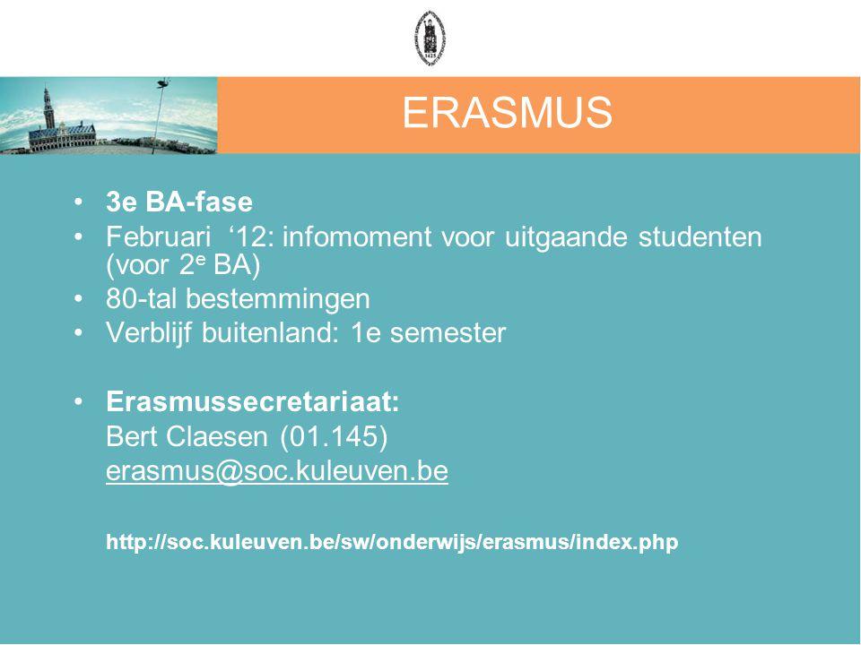 ERASMUS 3e BA-fase Februari '12: infomoment voor uitgaande studenten (voor 2 e BA) 80-tal bestemmingen Verblijf buitenland: 1e semester Erasmussecreta