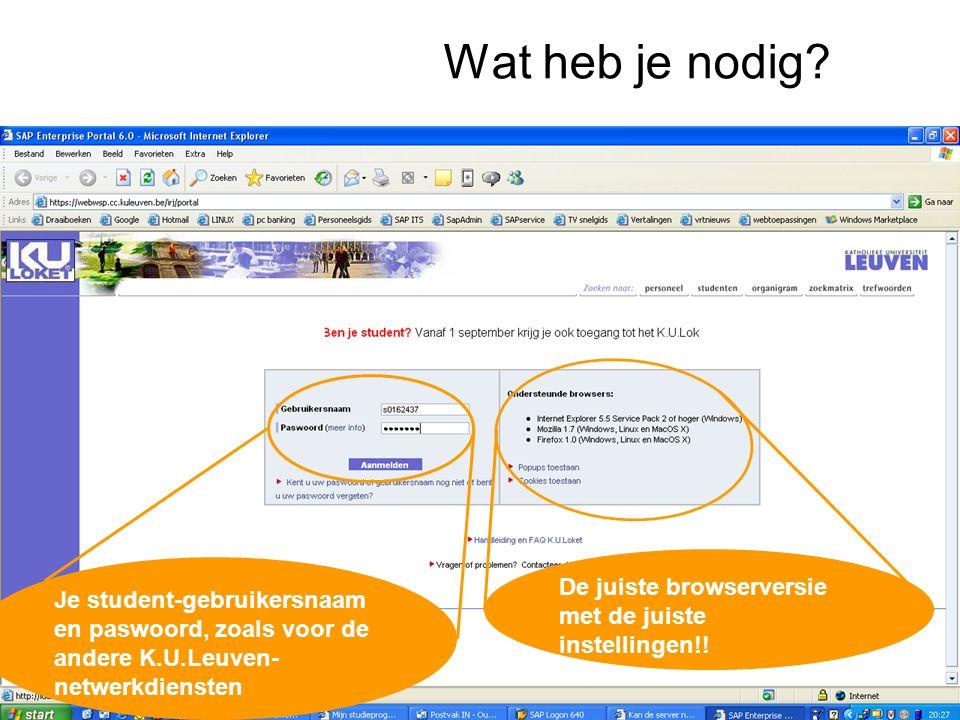 Wat heb je nodig? De juiste browserversie met de juiste instellingen!! Je student-gebruikersnaam en paswoord, zoals voor de andere K.U.Leuven- netwerk
