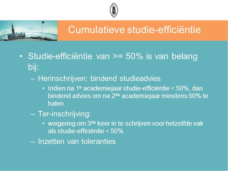 Cumulatieve studie-efficiëntie Studie-efficiëntie van >= 50% is van belang bij: –Herinschrijven: bindend studieadvies Indien na 1 e academiejaar studi