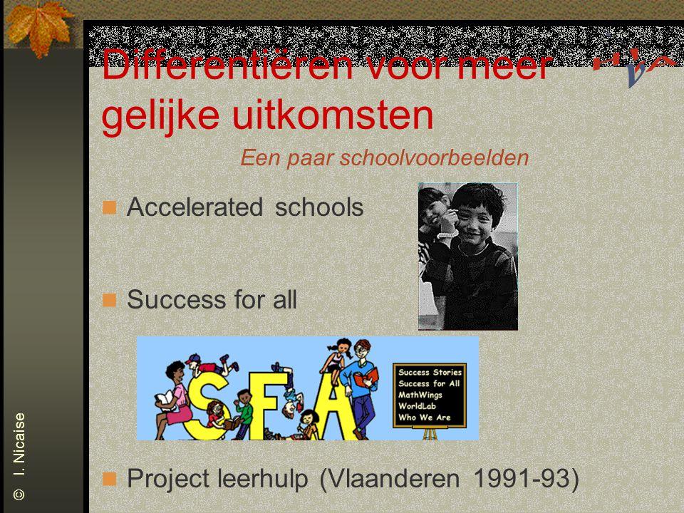 Differentiëren voor meer gelijke uitkomsten Een paar schoolvoorbeelden Accelerated schools Success for all Project leerhulp (Vlaanderen 1991-93) © I.