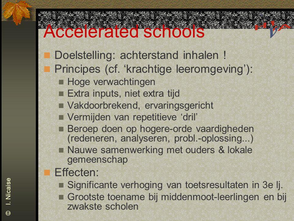 Accelerated schools Doelstelling: achterstand inhalen ! Principes (cf. 'krachtige leeromgeving'): Hoge verwachtingen Extra inputs, niet extra tijd Vak