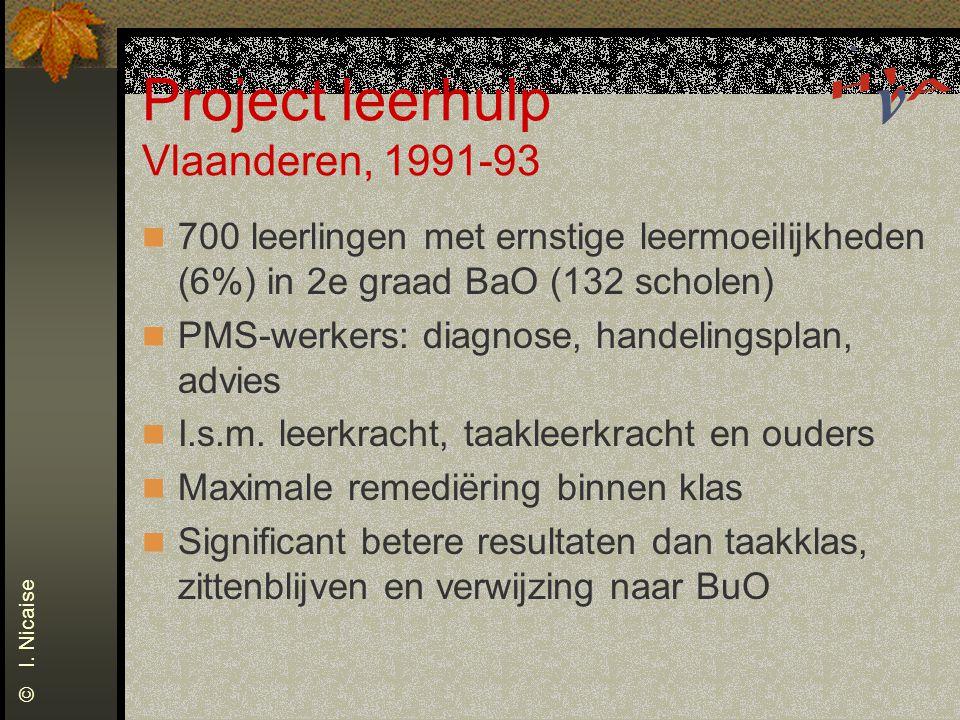 Project leerhulp Vlaanderen, 1991-93 700 leerlingen met ernstige leermoeilijkheden (6%) in 2e graad BaO (132 scholen) PMS-werkers: diagnose, handelingsplan, advies I.s.m.