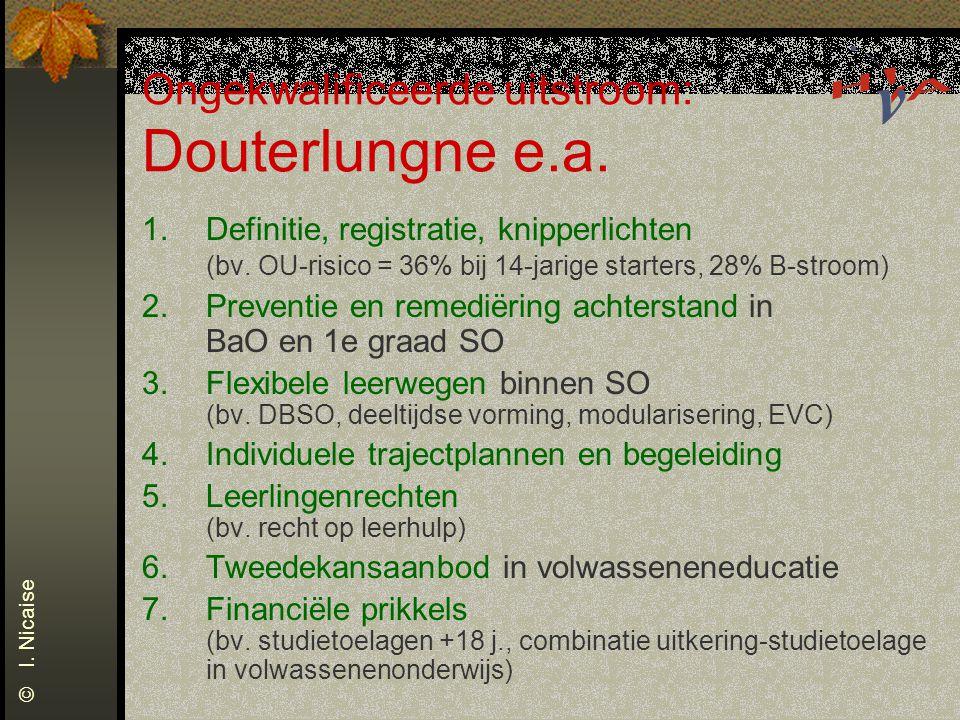 Ongekwalificeerde uitstroom: Douterlungne e.a. 1.Definitie, registratie, knipperlichten (bv. OU-risico = 36% bij 14-jarige starters, 28% B-stroom) 2.P