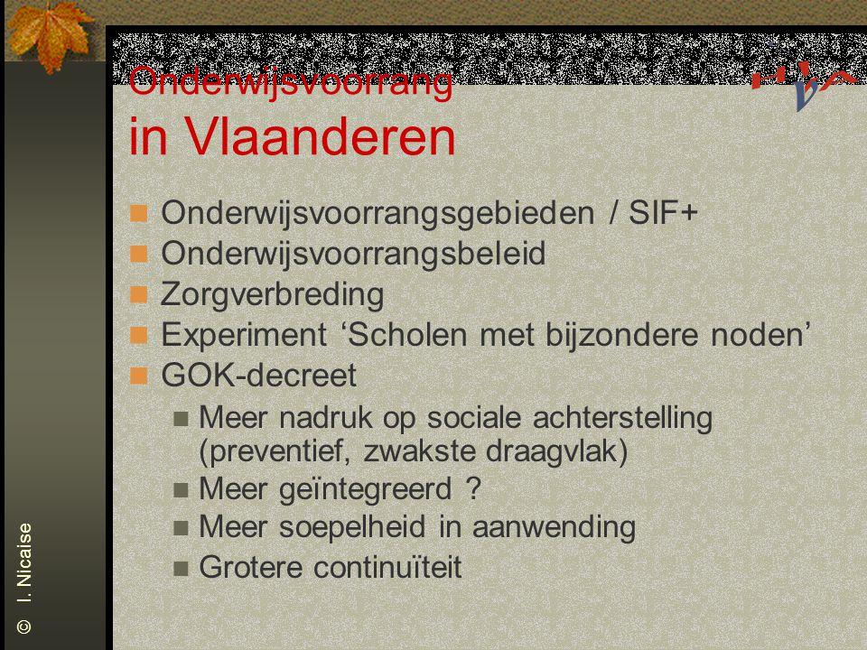 Onderwijsvoorrang in Vlaanderen Onderwijsvoorrangsgebieden / SIF+ Onderwijsvoorrangsbeleid Zorgverbreding Experiment 'Scholen met bijzondere noden' GOK-decreet Meer nadruk op sociale achterstelling (preventief, zwakste draagvlak) Meer geïntegreerd .