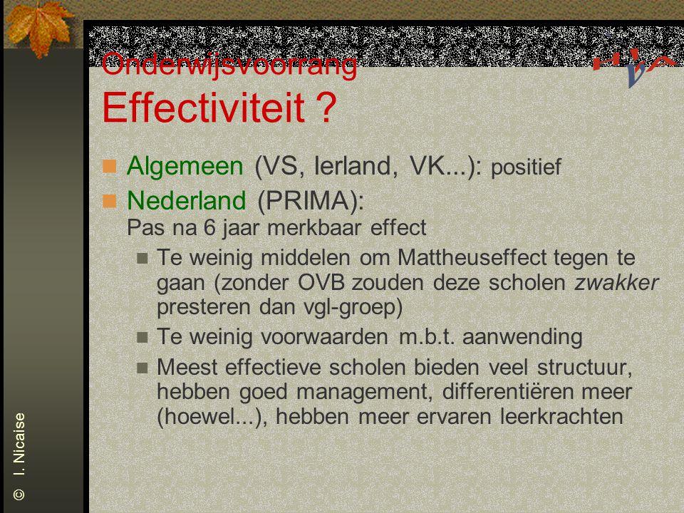 Onderwijsvoorrang Effectiviteit ? Algemeen (VS, Ierland, VK...): positief Nederland (PRIMA): Pas na 6 jaar merkbaar effect Te weinig middelen om Matth