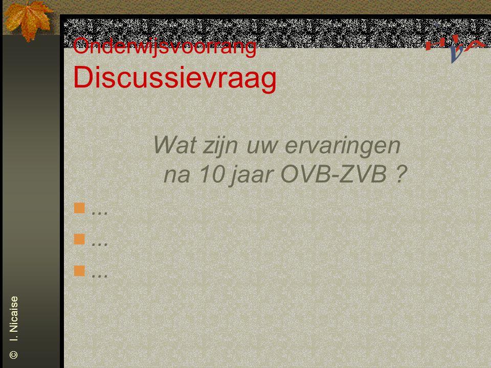 Onderwijsvoorrang Discussievraag Wat zijn uw ervaringen na 10 jaar OVB-ZVB ?... © I. Nicaise
