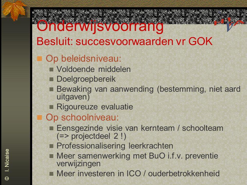 Onderwijsvoorrang Besluit: succesvoorwaarden vr GOK Op beleidsniveau: Voldoende middelen Doelgroepbereik Bewaking van aanwending (bestemming, niet aar