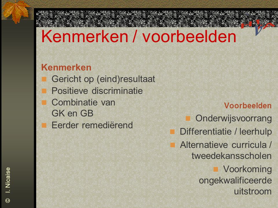 Differentiatie © I. Nicaise