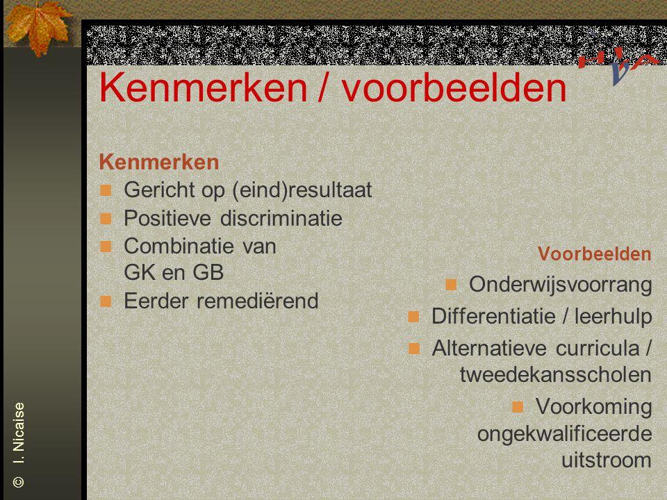 Kenmerken / voorbeelden Kenmerken Gericht op (eind)resultaat Positieve discriminatie Combinatie van GK en GB Eerder remediërend Voorbeelden Onderwijsv