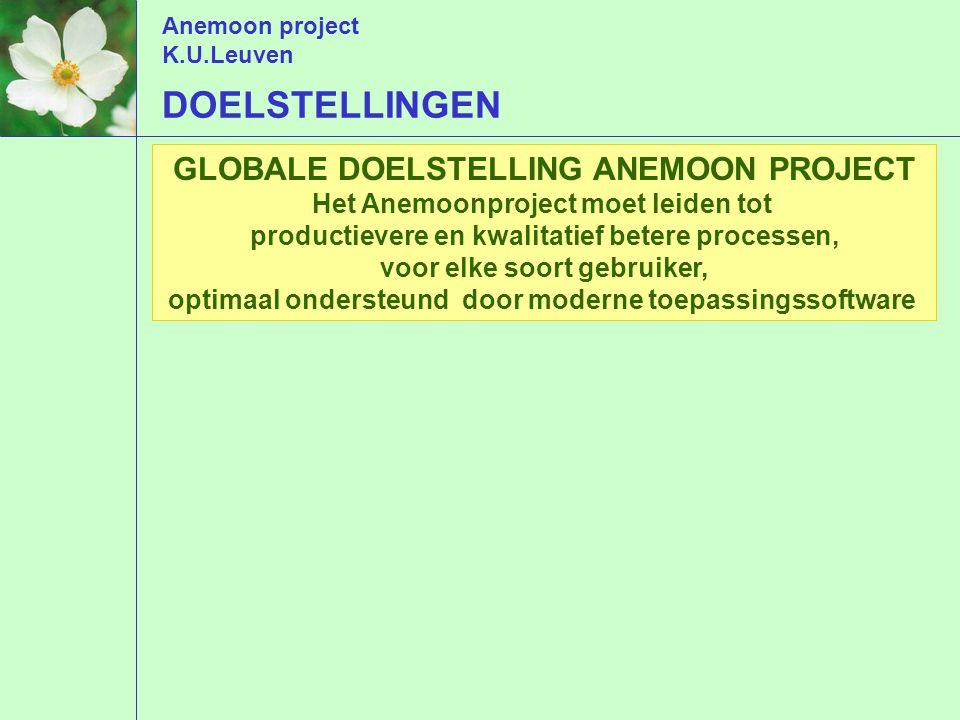 Anemoon project K.U.Leuven GLOBALE DOELSTELLING ANEMOON PROJECT Het Anemoonproject moet leiden tot productievere en kwalitatief betere processen, voor elke soort gebruiker, optimaal ondersteund door moderne toepassingssoftware DOELSTELLINGEN