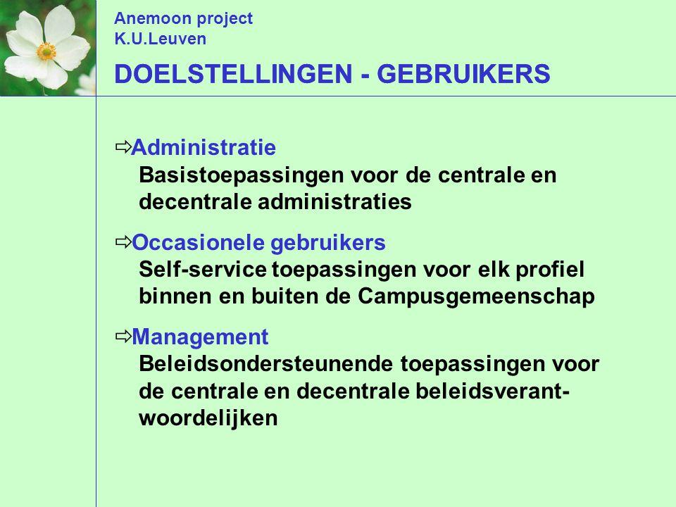 Anemoon project K.U.Leuven DOELSTELLINGEN - GEBRUIKERS  Administratie Basistoepassingen voor de centrale en decentrale administraties  Occasionele g