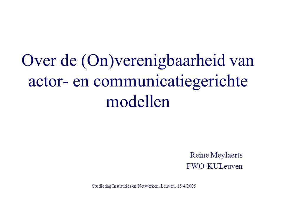 Over de (On)verenigbaarheid van actor- en communicatiegerichte modellen Reine Meylaerts FWO-KULeuven Studiedag Instituties en Netwerken, Leuven, 15/4/2005