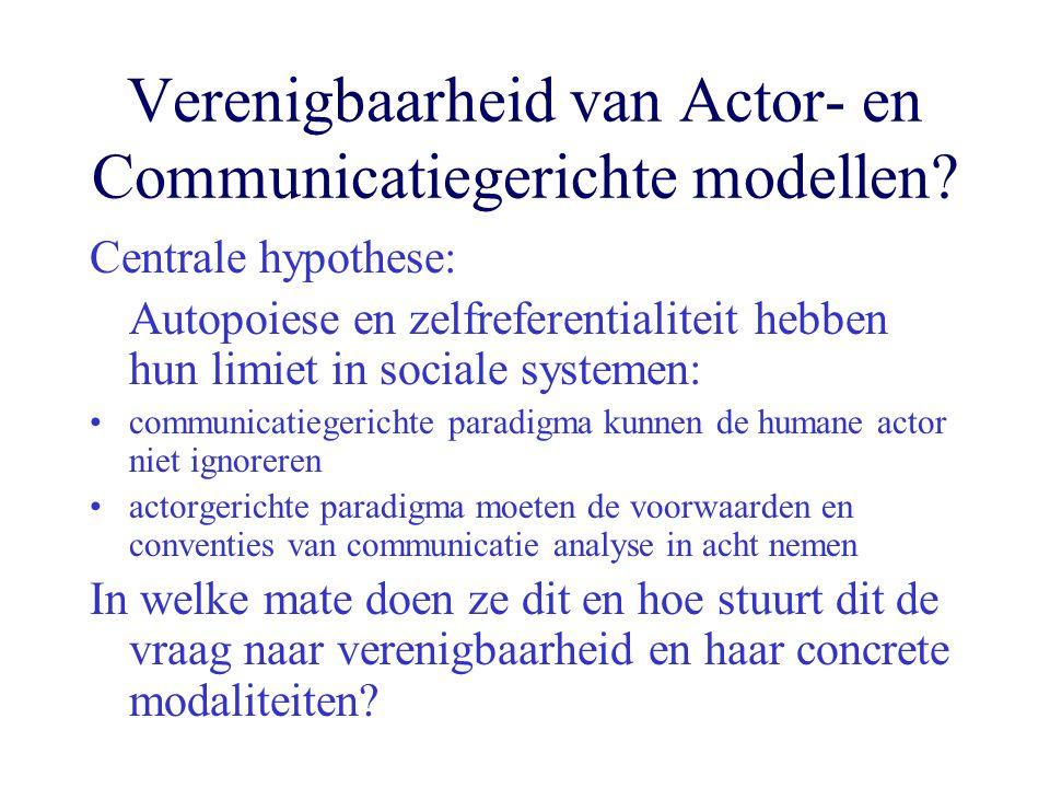 Verenigbaarheid van Actor- en Communicatiegerichte modellen.