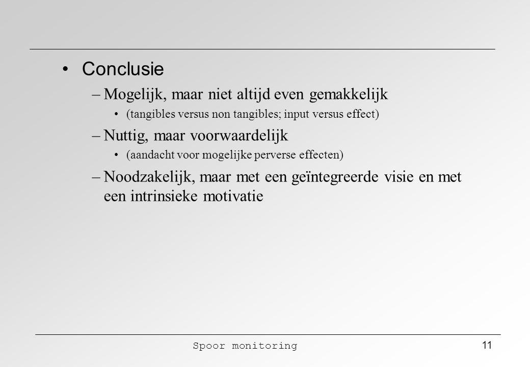 Spoor monitoring 11 Conclusie –Mogelijk, maar niet altijd even gemakkelijk (tangibles versus non tangibles; input versus effect) –Nuttig, maar voorwaa