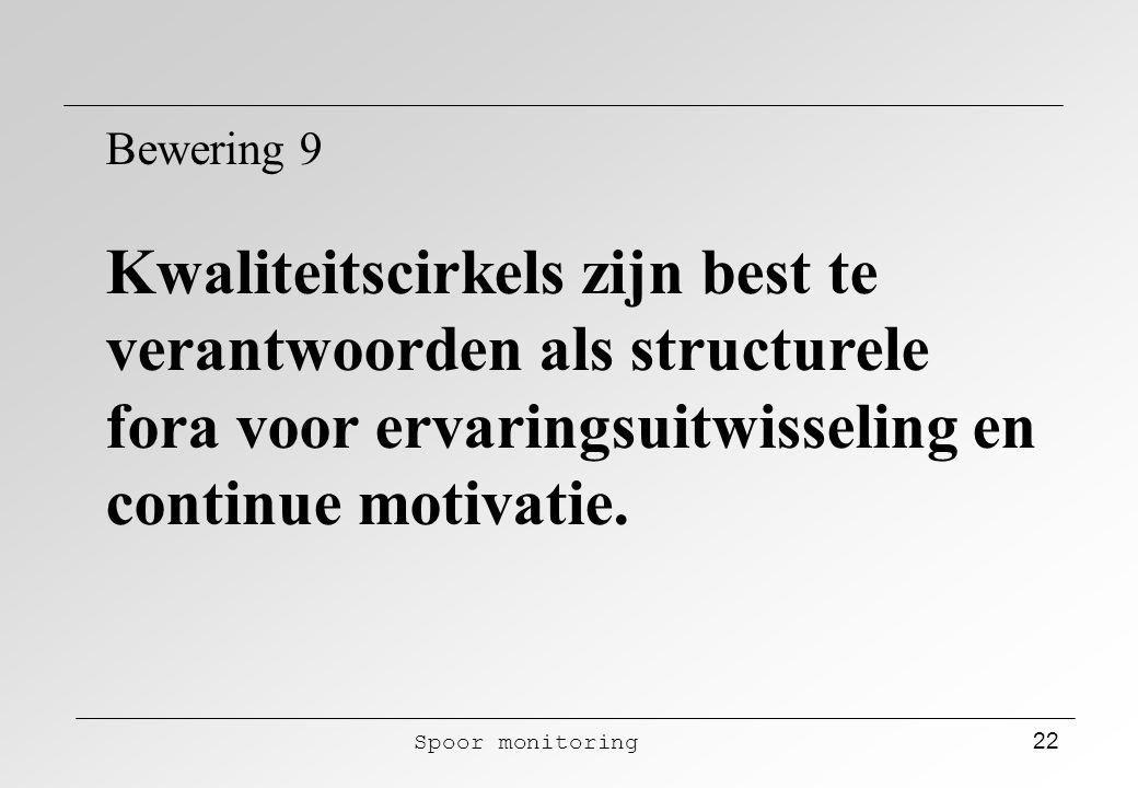 Spoor monitoring 22 Bewering 9 Kwaliteitscirkels zijn best te verantwoorden als structurele fora voor ervaringsuitwisseling en continue motivatie.