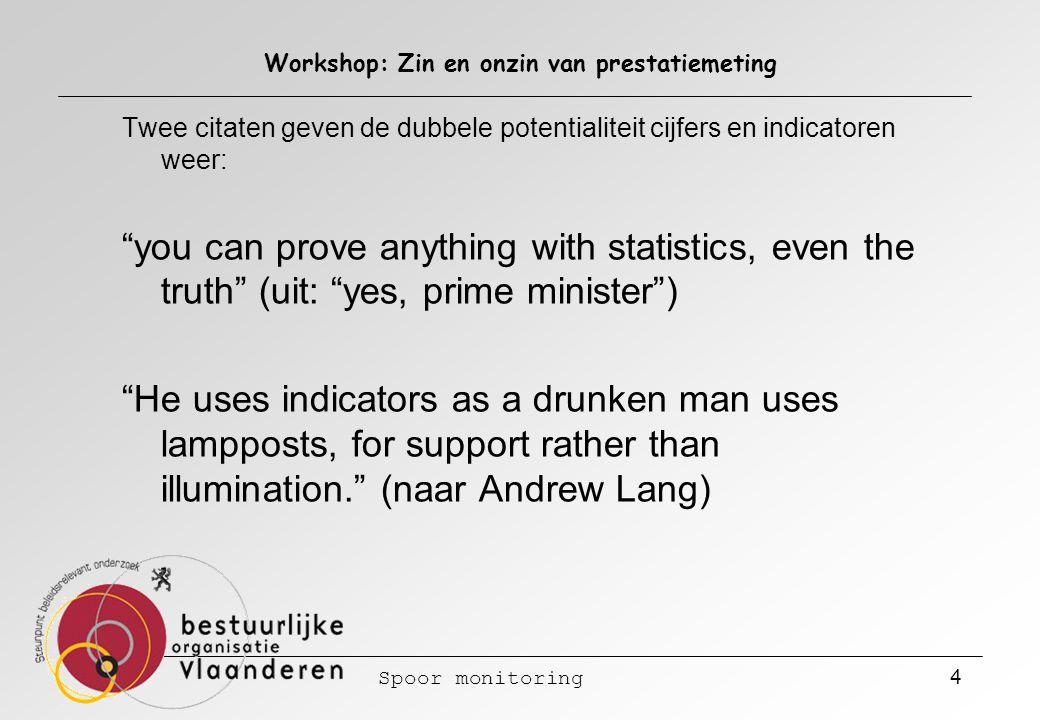 Spoor monitoring 5 Workshop: Zin en onzin van prestatiemeting Prestatiemeting is maar zinvol als vraag en aanbod van gegevens elkaar vinden