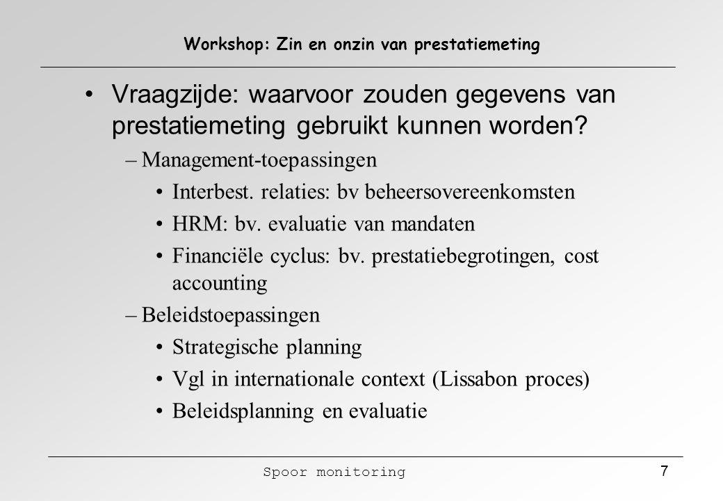Spoor monitoring 8 Workshop: Zin en onzin van prestatiemeting Aanbodszijde: het meetsysteem als proces – doelstellingen van het meetsysteem (waarom meten?) – afbakening van het meetobject (wat gaan we meten?) – indicatorenontwikkeling (welke.
