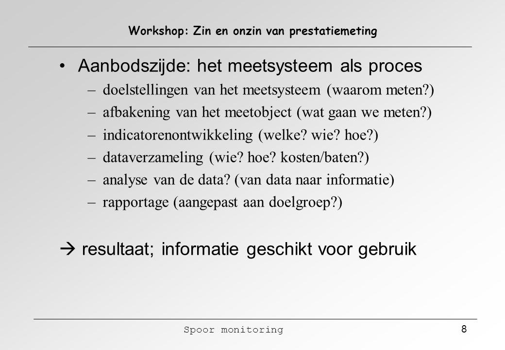 Spoor monitoring 8 Workshop: Zin en onzin van prestatiemeting Aanbodszijde: het meetsysteem als proces – doelstellingen van het meetsysteem (waarom me