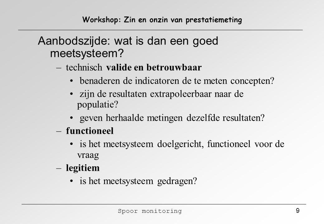 Spoor monitoring 9 Workshop: Zin en onzin van prestatiemeting Aanbodszijde: wat is dan een goed meetsysteem? – technisch valide en betrouwbaar benader
