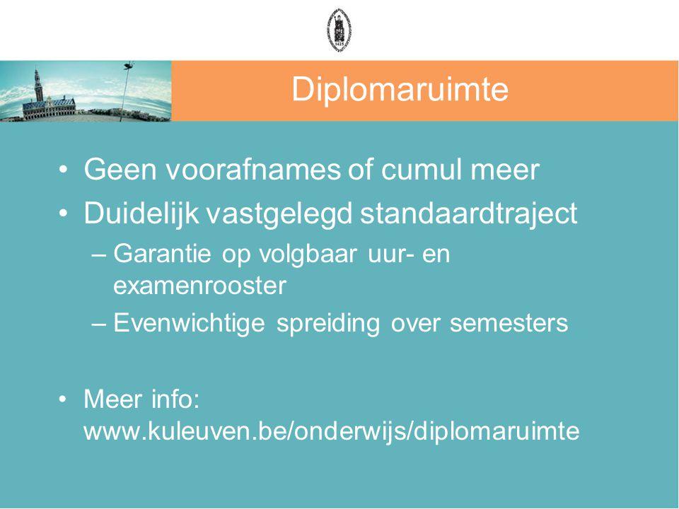Diplomaruimte Geen voorafnames of cumul meer Duidelijk vastgelegd standaardtraject –Garantie op volgbaar uur- en examenrooster –Evenwichtige spreiding