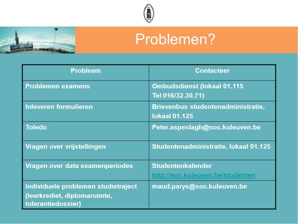 Problemen? ProbleemContacteer Problemen examensOmbudsdienst (lokaal 01.115 Tel 016/32.30.71) Inleveren formulierenBrievenbus studentenadministratie, l