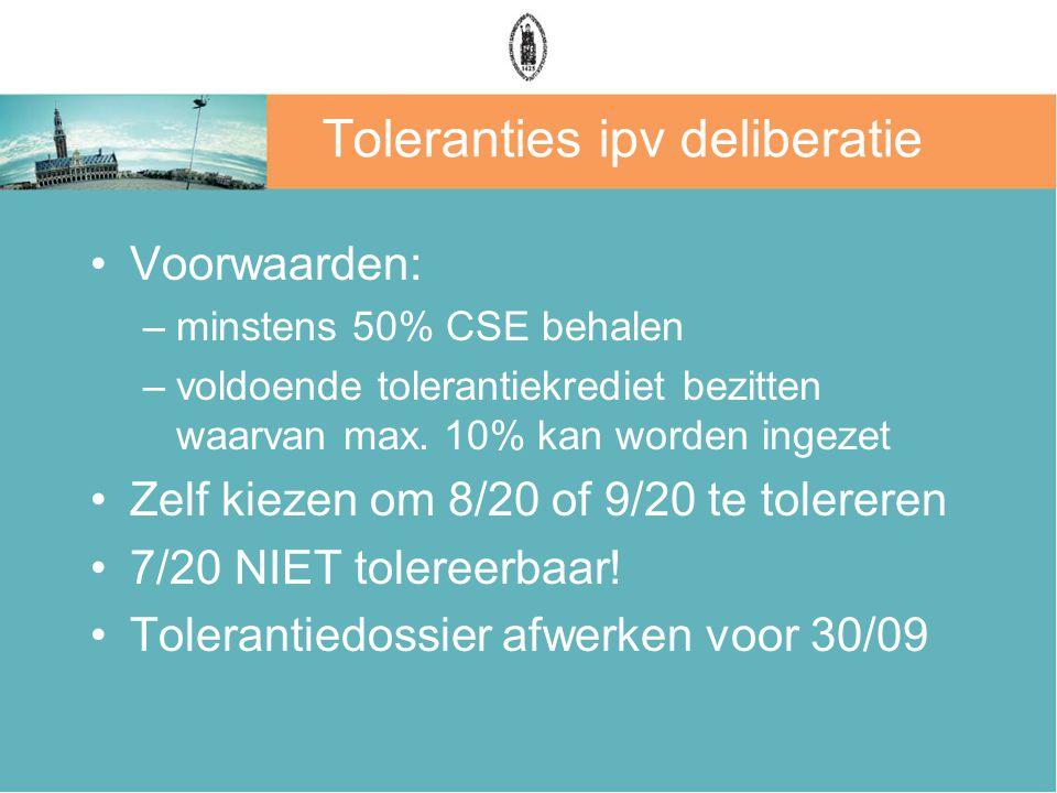 Toleranties ipv deliberatie Voorwaarden: –minstens 50% CSE behalen –voldoende tolerantiekrediet bezitten waarvan max. 10% kan worden ingezet Zelf kiez