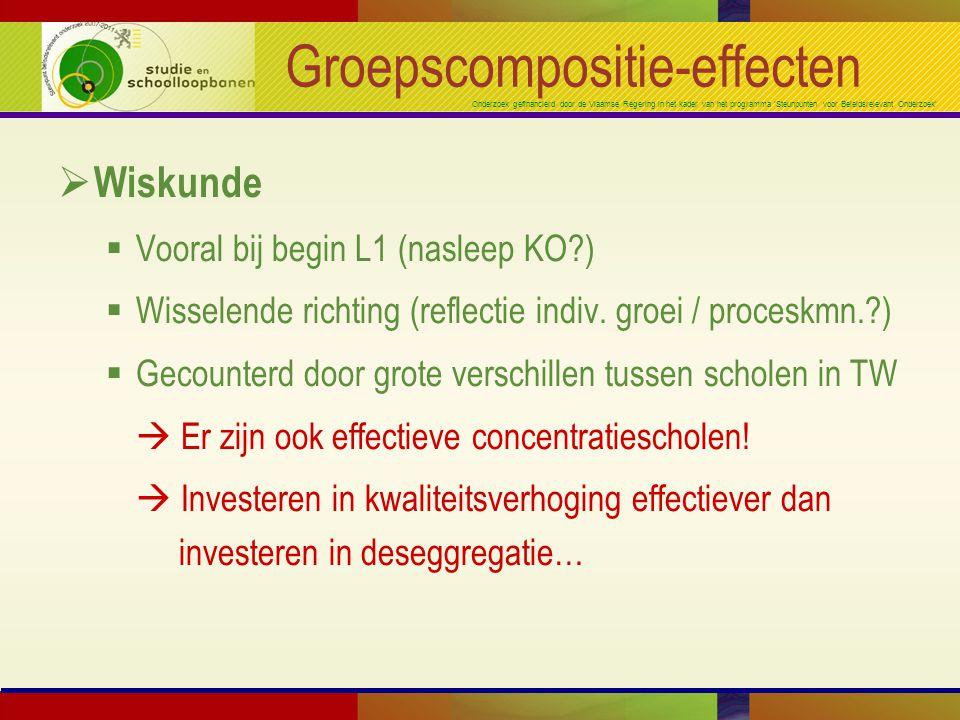 Onderzoek gefinancierd door de Vlaamse Regering in het kader van het programma 'Steunpunten voor Beleidsrelevant Onderzoek' Groepscompositie-effecten  Wiskunde  Vooral bij begin L1 (nasleep KO?)  Wisselende richting (reflectie indiv.