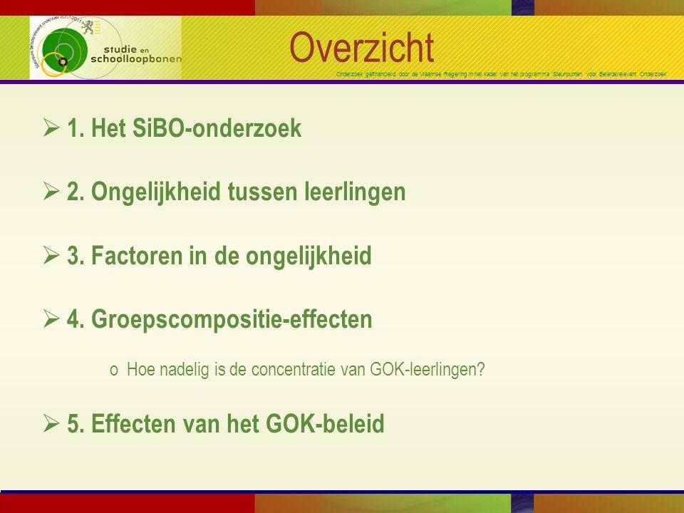 Onderzoek gefinancierd door de Vlaamse Regering in het kader van het programma 'Steunpunten voor Beleidsrelevant Onderzoek' Groepscompositie-effecten Wiskunde (SiBO) Verschillen tussen scholen Kansrijk (14 sch) = 50% AT-niet-GOK Modaal (98 sch) = 70% NL-niet-GOK Kansarm (39 sch) = 25% NL-GOK 35% NL-niet-GOK 15% AT-GOK Zeer kansarm (24) = 45% AT-GOK Begin L1
