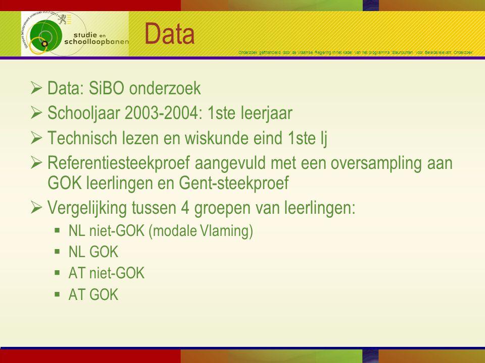 Onderzoek gefinancierd door de Vlaamse Regering in het kader van het programma 'Steunpunten voor Beleidsrelevant Onderzoek' Data  Data: SiBO onderzoek  Schooljaar 2003-2004: 1ste leerjaar  Technisch lezen en wiskunde eind 1ste lj  Referentiesteekproef aangevuld met een oversampling aan GOK leerlingen en Gent-steekproef  Vergelijking tussen 4 groepen van leerlingen:  NL niet-GOK (modale Vlaming)  NL GOK  AT niet-GOK  AT GOK