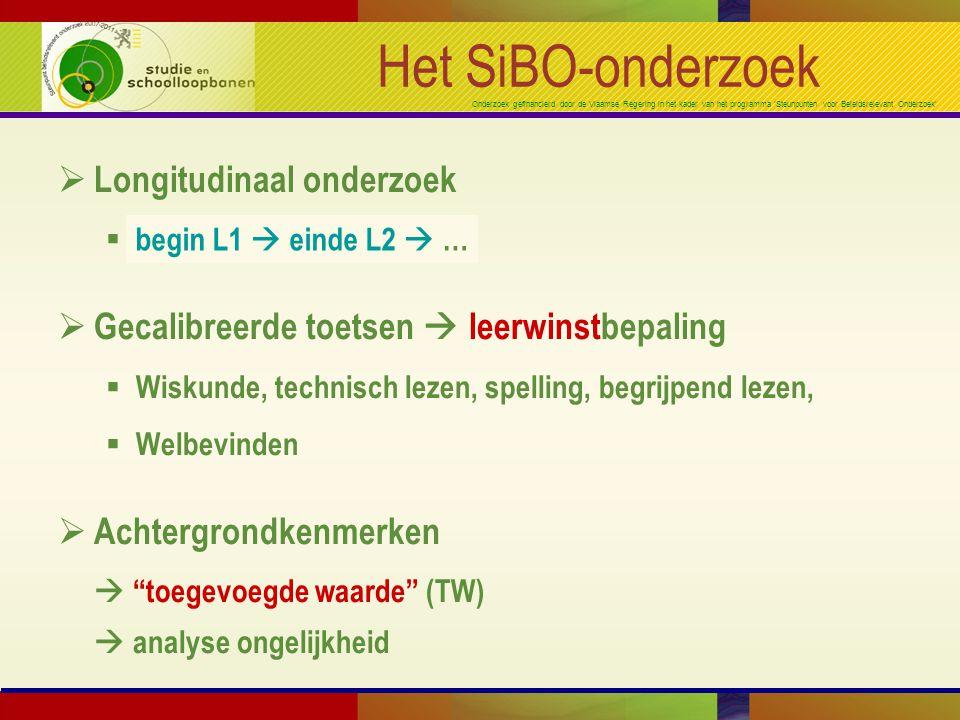 Onderzoek gefinancierd door de Vlaamse Regering in het kader van het programma 'Steunpunten voor Beleidsrelevant Onderzoek' Het SiBO-onderzoek  Longitudinaal onderzoek  begin K3  einde L6  …  Gecalibreerde toetsen  leerwinstbepaling  Wiskunde, technisch lezen, spelling, begrijpend lezen,  Welbevinden  Achtergrondkenmerken  toegevoegde waarde (TW)  analyse ongelijkheid begin L1  einde L2  …