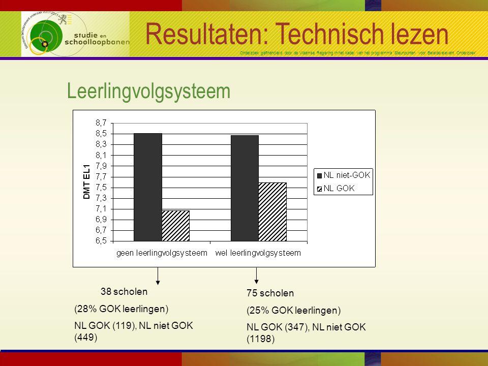 Onderzoek gefinancierd door de Vlaamse Regering in het kader van het programma 'Steunpunten voor Beleidsrelevant Onderzoek' Resultaten: Technisch lezen Leerlingvolgsysteem 38 scholen (28% GOK leerlingen) NL GOK (119), NL niet GOK (449) 75 scholen (25% GOK leerlingen) NL GOK (347), NL niet GOK (1198)