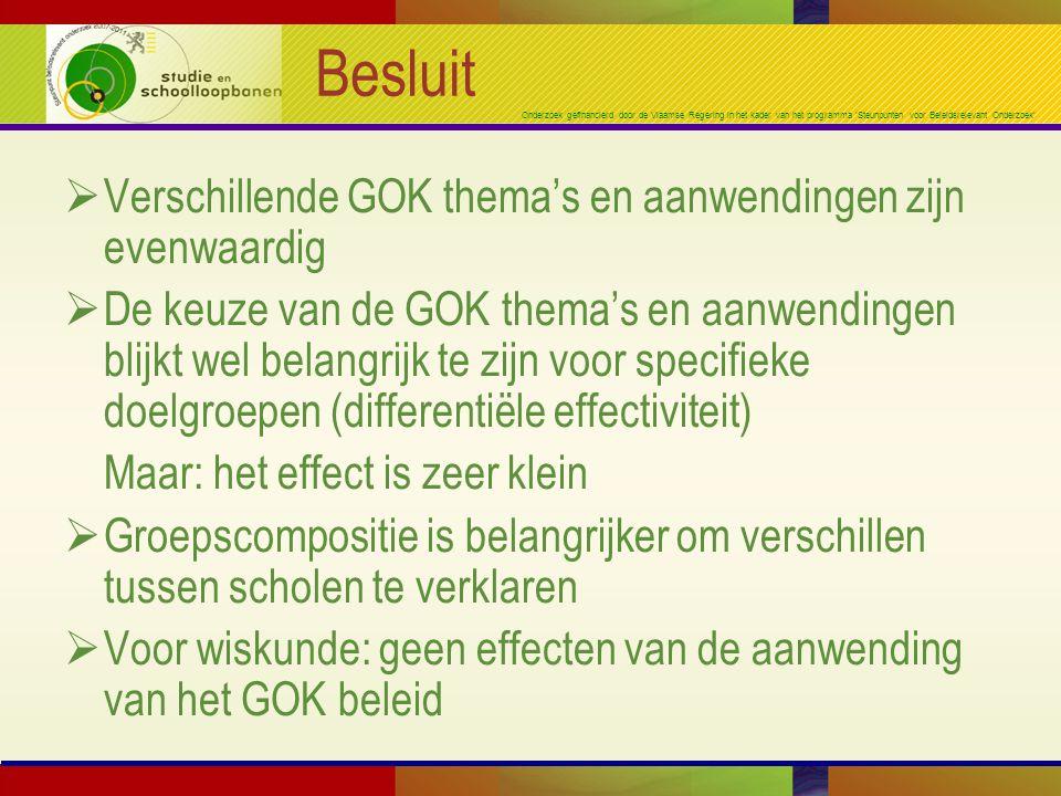 Onderzoek gefinancierd door de Vlaamse Regering in het kader van het programma 'Steunpunten voor Beleidsrelevant Onderzoek' Besluit  Verschillende GO