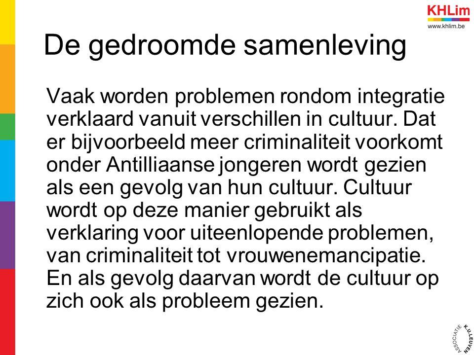 De gedroomde samenleving Vaak worden problemen rondom integratie verklaard vanuit verschillen in cultuur. Dat er bijvoorbeeld meer criminaliteit voork