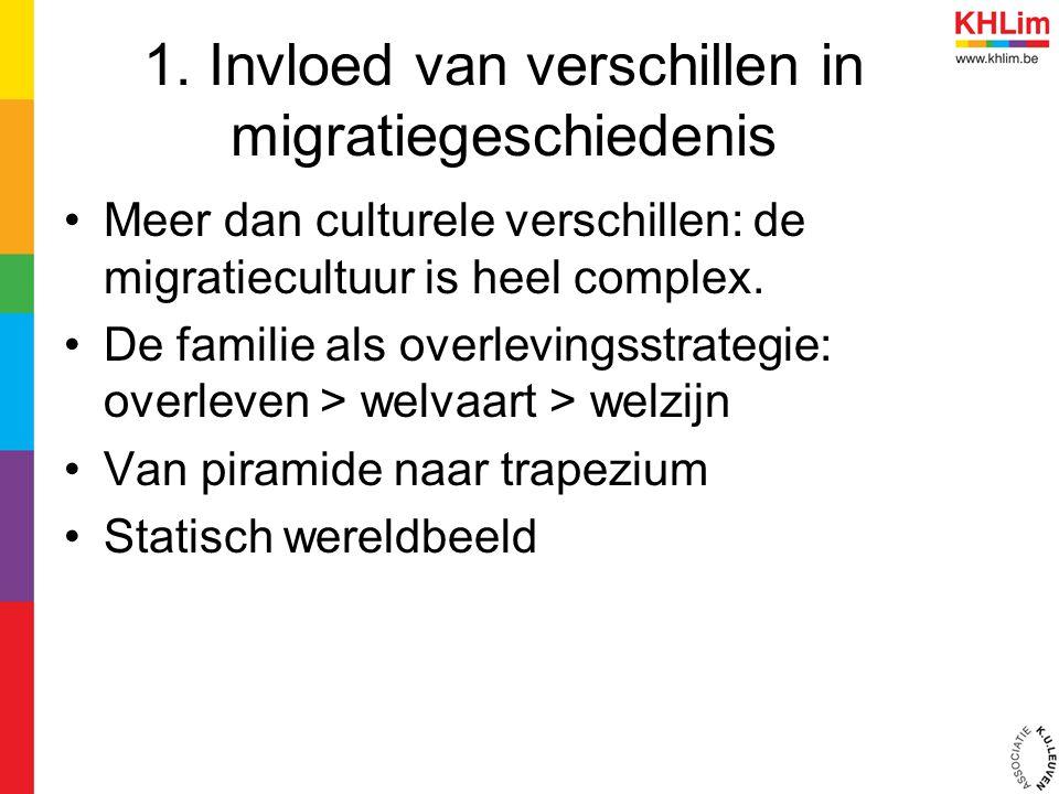 1. Invloed van verschillen in migratiegeschiedenis Meer dan culturele verschillen: de migratiecultuur is heel complex. De familie als overlevingsstrat