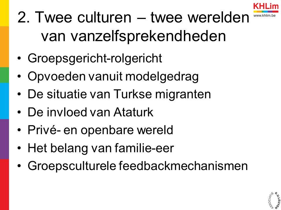 2. Twee culturen – twee werelden van vanzelfsprekendheden Groepsgericht-rolgericht Opvoeden vanuit modelgedrag De situatie van Turkse migranten De inv
