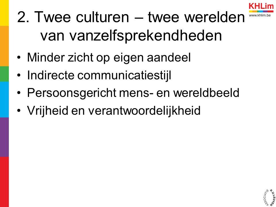 2. Twee culturen – twee werelden van vanzelfsprekendheden Minder zicht op eigen aandeel Indirecte communicatiestijl Persoonsgericht mens- en wereldbee