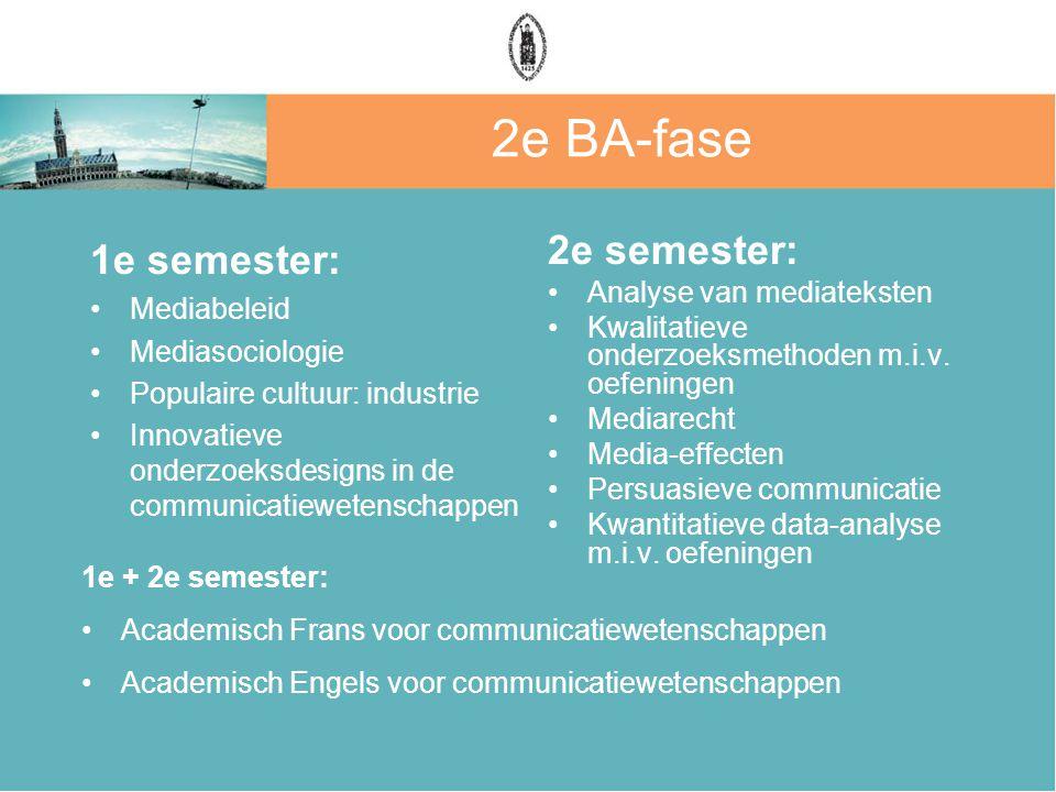 2e BA-fase 1e semester: Mediabeleid Mediasociologie Populaire cultuur: industrie Innovatieve onderzoeksdesigns in de communicatiewetenschappen 2e semester: Analyse van mediateksten Kwalitatieve onderzoeksmethoden m.i.v.