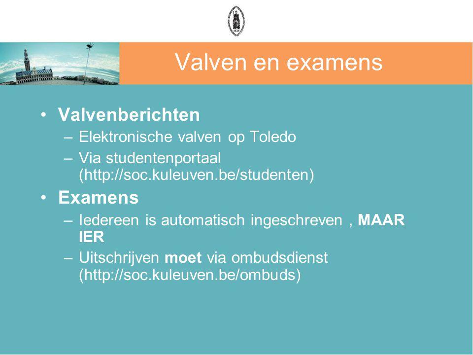 Valven en examens Valvenberichten –Elektronische valven op Toledo –Via studentenportaal (http://soc.kuleuven.be/studenten) Examens –Iedereen is automatisch ingeschreven, MAAR IER –Uitschrijven moet via ombudsdienst (http://soc.kuleuven.be/ombuds)