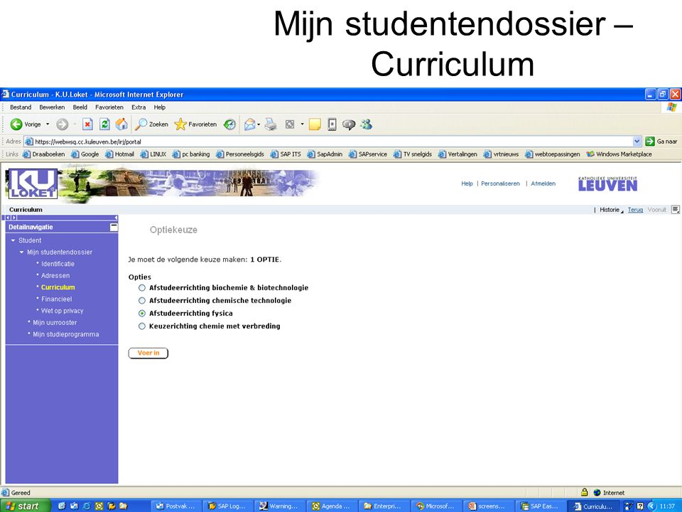 Mijn studentendossier – Curriculum