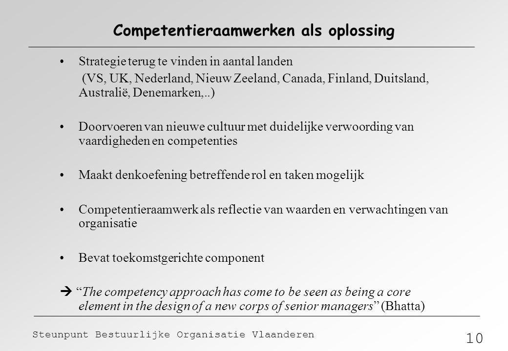 10 Steunpunt Bestuurlijke Organisatie Vlaanderen Competentieraamwerken als oplossing Strategie terug te vinden in aantal landen (VS, UK, Nederland, Ni