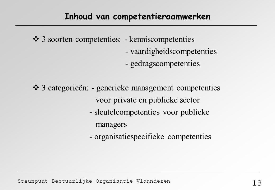 13 Steunpunt Bestuurlijke Organisatie Vlaanderen Inhoud van competentieraamwerken  3 soorten competenties: - kenniscompetenties - vaardigheidscompete