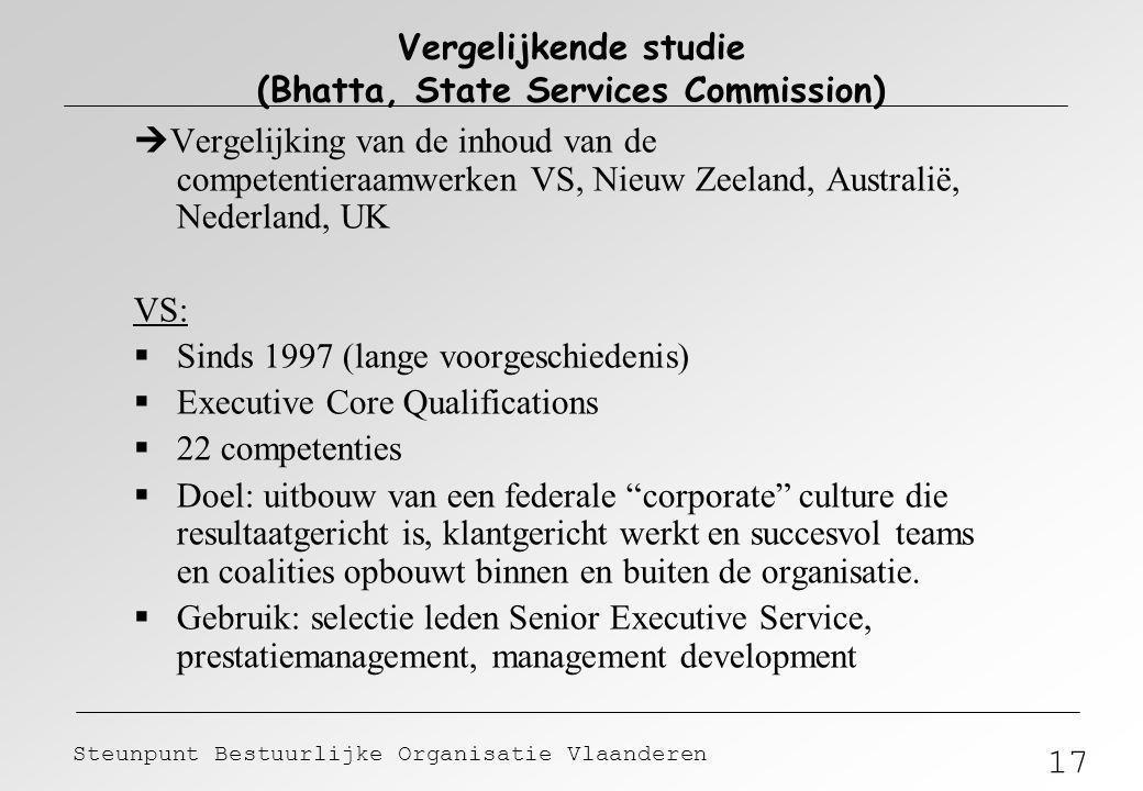 17 Steunpunt Bestuurlijke Organisatie Vlaanderen Vergelijkende studie (Bhatta, State Services Commission)  Vergelijking van de inhoud van de competen