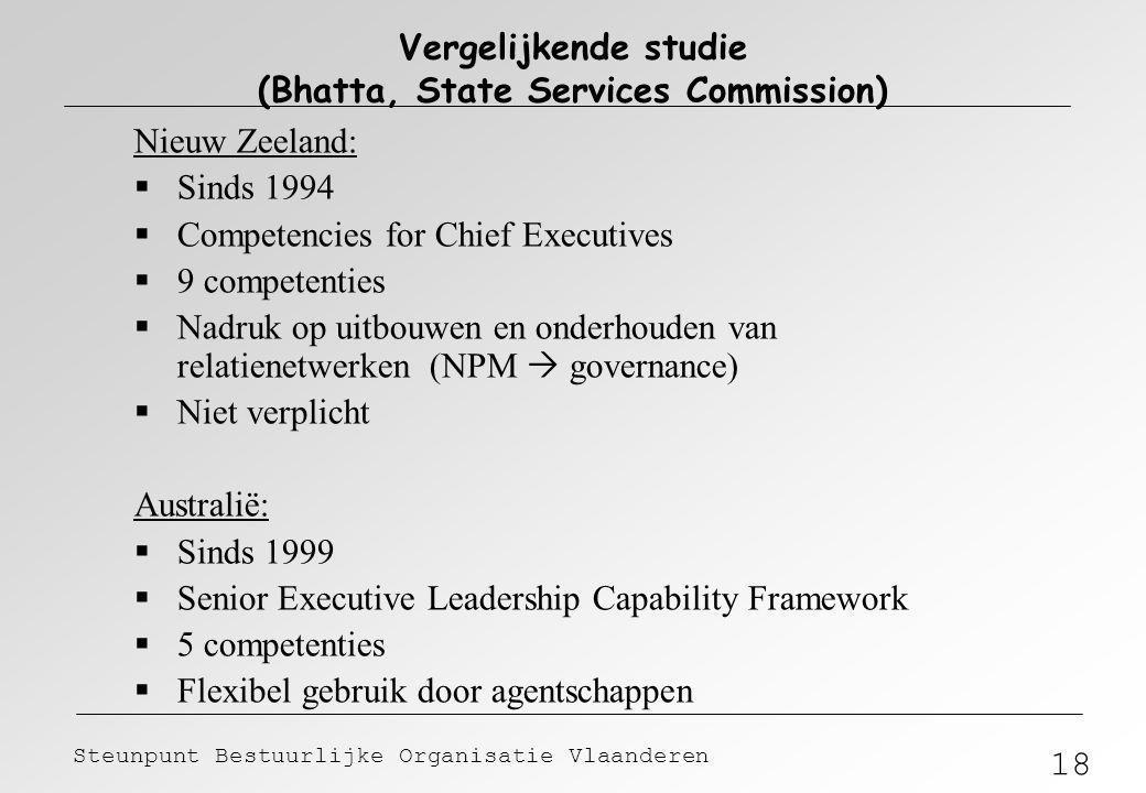 18 Steunpunt Bestuurlijke Organisatie Vlaanderen Vergelijkende studie (Bhatta, State Services Commission) Nieuw Zeeland:  Sinds 1994  Competencies f