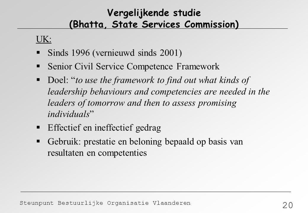 20 Steunpunt Bestuurlijke Organisatie Vlaanderen Vergelijkende studie (Bhatta, State Services Commission) UK:  Sinds 1996 (vernieuwd sinds 2001)  Se