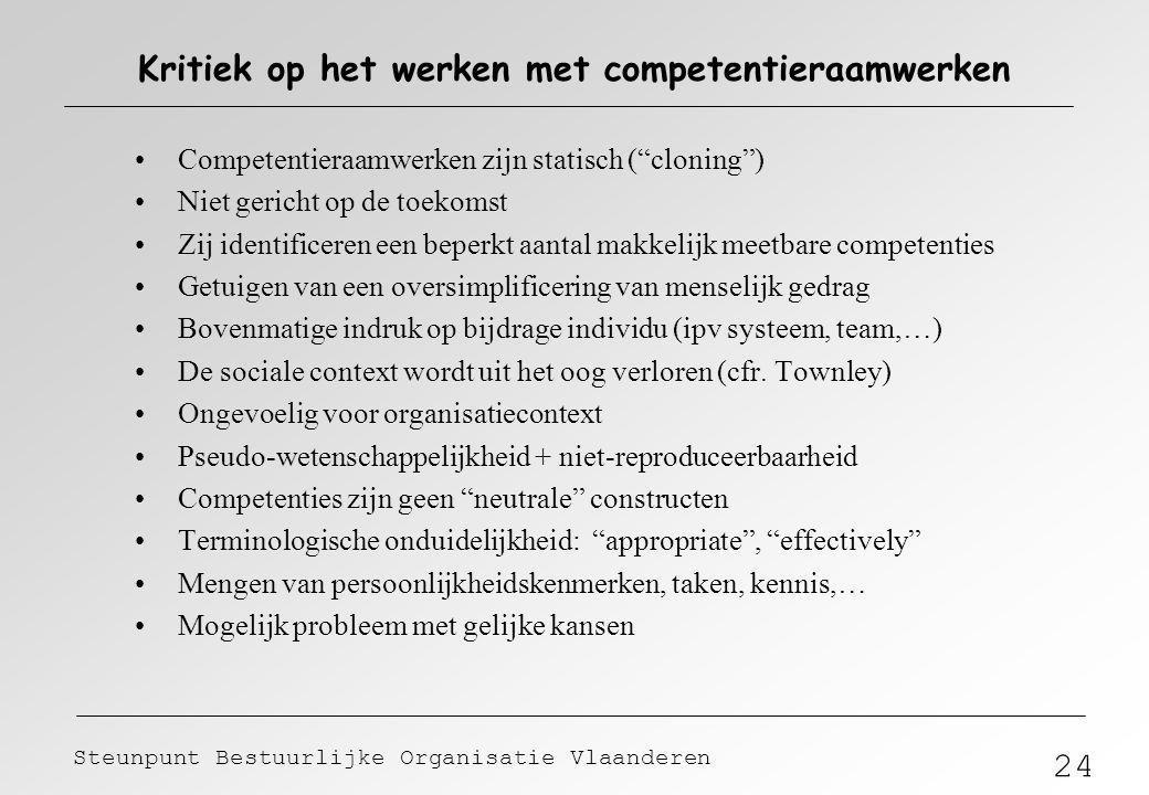 """24 Steunpunt Bestuurlijke Organisatie Vlaanderen Kritiek op het werken met competentieraamwerken Competentieraamwerken zijn statisch (""""cloning"""") Niet"""